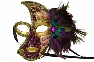 Peacock Venetian Mardi Gras Masquerade Ball Black Half face womens prom mask