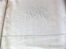 """Drap en fil de lin 1m90 x 2m80 Brodé monogramme """"SR"""" - (2 draps disponibles)"""