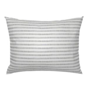 """Cloud White Gray 1/2"""" Horizontal Stripes Pillow Sham by Roostery"""