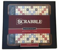 Scrabble Luxury Edition Board Game with Rotating Wooden Game Cabinet Brand