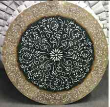 """48"""" dining black marble table top center coffee home decor inlay malachite  k1"""