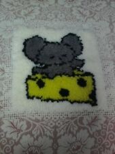 MOUSE WITH CHEESE LATCH HOOK UNFINISHED PILLOW KIT - DESIGN HAS BEEN DONE