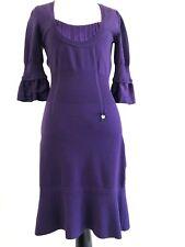 Karen Millen G2 Womens Sweater Purple Dress Size 2 Ruffle Scoop Neck Fit Shift