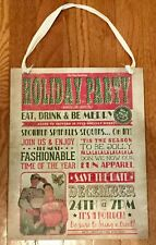 """Christmas Party Wooden Sign Vintage Style Holiday Decor 11"""" x 14"""""""