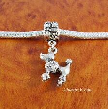 Poodle dog charm paw bead for silver European charm bracelet or necklace