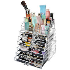 Sortwise® Detachable 9 Drawers Makeup Organizer Clear Acrylic Storage Box Case