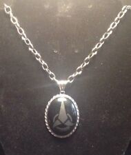 Klingon Emblem Black Stone Necklace, 22 in Chain, Artisan Made