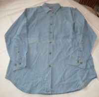 Jerzees adult womens long sleeve button front denim shirt S small blue J210 NOS