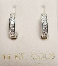 New 14K White Gold Tiny Huggies w/Dias