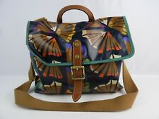 Fossil Canvas Coated Tropical Flower Dark Blue Cross body / Shoulder Purse Bag