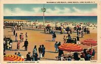 Vintage Postcard - 1941 Boardwalk And Beach Long Island New York NY #4309