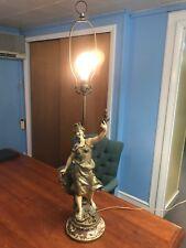 """Louis Moreau Figural Lamp Art Nouveau Genuine Original Antique Paris France 41"""""""