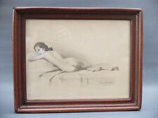Robert DUFLOS 1898 - ?  NU FEMININ DESSIN ANCIEN DRAWING ACADEMIE ART DECO SIGNE