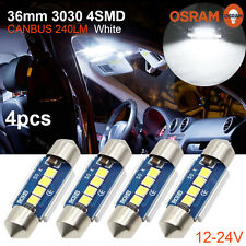 4x OSRAM 3030LED Error Free White 36MM Festoon License Plate Light Bulb 4SMD C5W