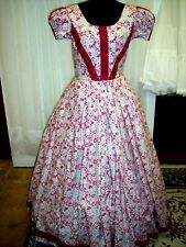 Civil War/Victorian Day Gown Of Shades Of Rose Floral & Vine, Ruching Trim