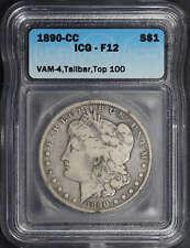 1890-CC Top 100 VAM 4 Morgan Dollar Tail Bar ICG F-12