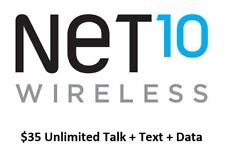 Net10 $35 One Month Plan Refill PIN With Unlimited Minutes/Talk + Text + Data