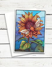 Bumble Bee & Sunflower Stained Glass Blank Greeting Card