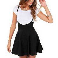Women Suspender Mini Skater Skirt High Waisted Pleated Dress Adjustable Strap