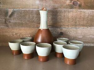 Sial Pottery Sake Set Stoneware Pottery Canada Vintage  Bar Set