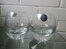 2 x Tutbury very Heavy Crystal Whiskey Glasses Wheel Etched, 800gr each glass