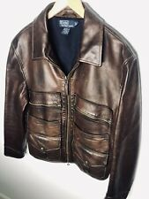 New Polo Ralph Lauren Large Brown Leather Jacket RRL Hunting Newsboy Burnished