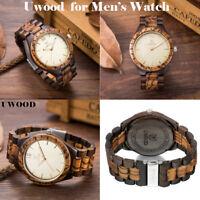 UWOOD Natural Black Zebra Wood Watch for Men Gift Quartz Mens Solid Wooden Watch