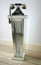 Pedestal Mirrored Furniture Lamp Telephone Table Small Plant Stand Side Glass