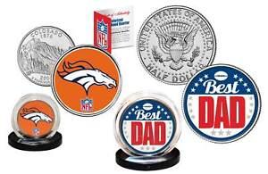 Best Dad - DENVER BRONCOS 2-Coin Set U.S. Quarter & JFK Half Dollar NFL LICENSED