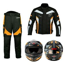 Motorbike Suit Waterproof Motorcycle Jacket, Trouser and Helmet Armoured Biker