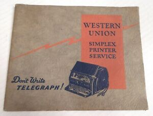1930 Western Union Telegraph Simplex Printer User Manual - Authentic Original