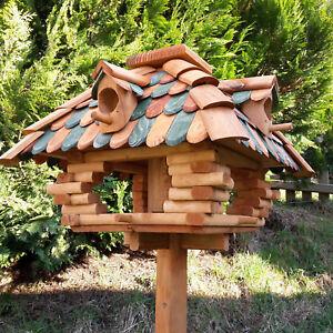 XXL Vogelhaus Vogelfutterhaus Luxus Vogelhäuschen Vogelvilla mit Futtersilo 4Eck