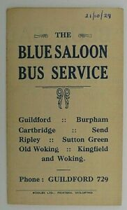 BLUE SALOON 21st OCTOBER 1929 ~ ROUTES 1, 2, 3, 4 & 5 BUS TIMETABLE LEAFLET