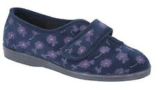 Ladies Touch Fastening Sleepers IVY Textile Navy Blue Floral Velour