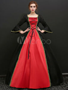 Baroque Halloween Costume Vintage Black bell sleeves lace Satin long maxi Dress