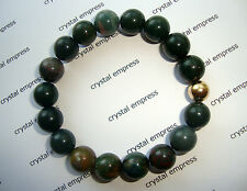 FENG SHUI - 10MM BLOODSTONE MALA BRACELET WITH GOLD BEAD