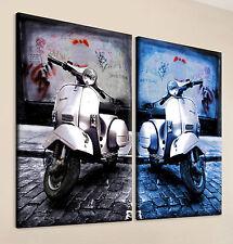 BLACK & BLUE - VESPA Leinwand Bild Schwarz Blau Kunstdruck Wandbild Modern Deko