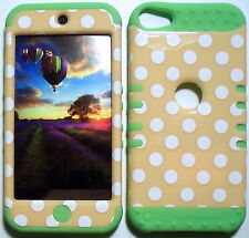 Yellow Dots Lime Skin Hybrid Apple ipod Touch 5 5G Rubber Protector Cover Case