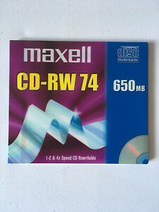 NEW SEALED - Maxell CD-RW 74 650MB - 4x Speed CD Rewritable