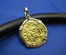 24k Pure Gold '2' Escudo Pirate Shipwreck Coin Cob Doubloon Replica in 14k Bezel