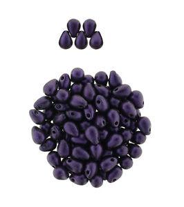 100 Purple Chrome Czech Glass Tear Drop Teardrops Beads 6MM