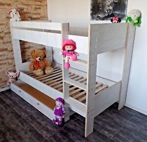 Hochbett Kinderbett Kinderzimmer Etagenbett Doppelbett Rollrost Schublade Set !