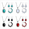 Women Vintage Turquoise Pendant Necklace Hook Earrings Bracelet Jewelry Set