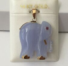14K Gold Natural Blue Agate elephant charm , pendant for necklace NEW