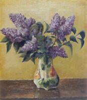 Original Vintage Antique Flowers Oil Painting Floral Still Life Russian Fine Art