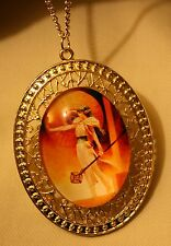 Gorgeous Lacy Metal Bead Rimmed Sun Goddess Warrior Goldtone Pendant Necklace