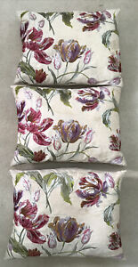 3 x Laura Ashley Gosford Cranberry Embroidered STAINED Cushions, 48 x 36cm