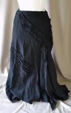 """Ivan Grundhal Long Asymmetrical Black Linen Skirt Size 42/Medium - Waist 30"""""""