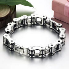 Punk Men Charm Stainless Steel Cuff Bycicle Chain Bike Bracelet Bangle Jewelry