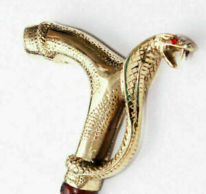 Working Style Brass Antique Cobra Head Handle Wooden Walking Stick Cane HANDLE